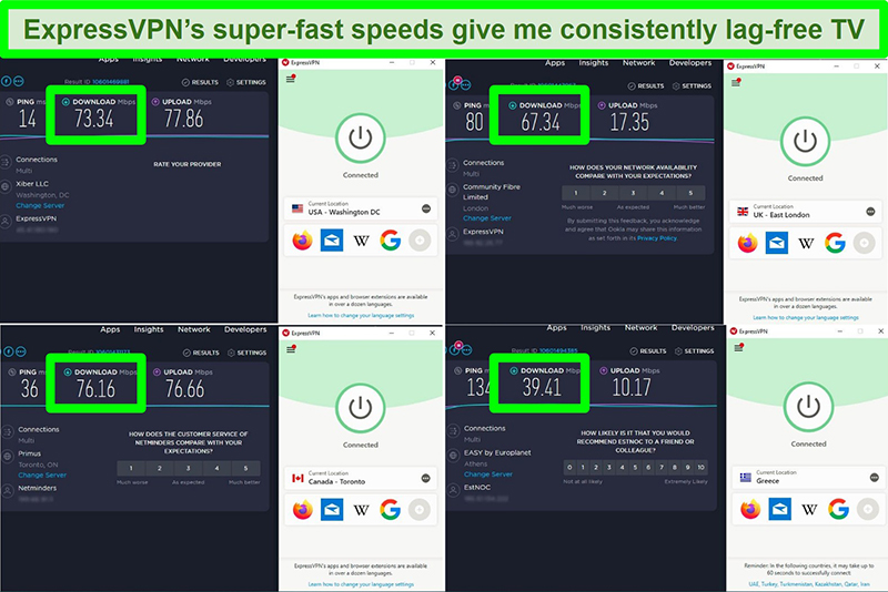 Screenshots of 4 speed tests while connected to different ExpressVPN servers