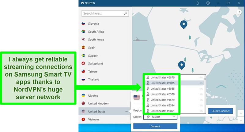 Screenshot of NordVPN's UI showing menu of servers in the US