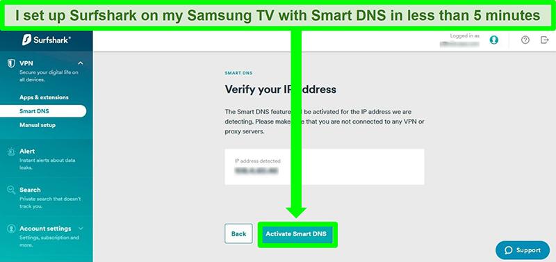 Screenshot of Surfshark's Smart DNS set up for Samsung Smart TV