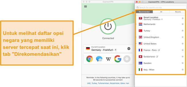 Tangkapan layar aplikasi ExpressVPN yang menunjukkan server yang direkomendasikan
