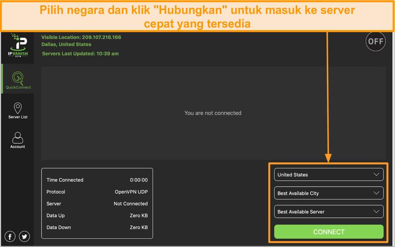 Tangkapan layar antarmuka aplikasi IPVanish dan bagian