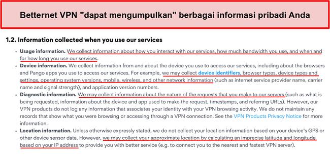 Tangkapan layar dari kebijakan privasi VPN Betternet
