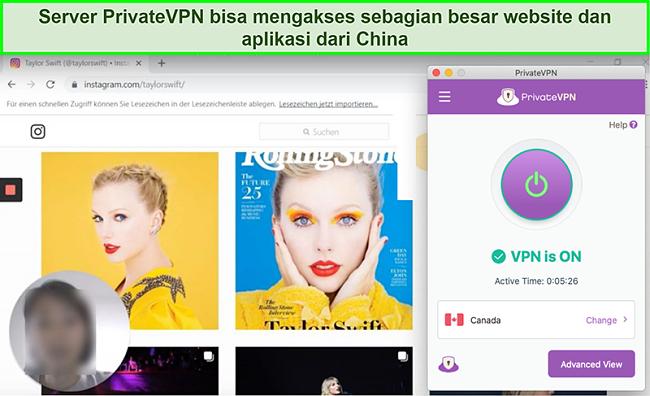 Tangkapan layar PrivateVPN yang terhubung ke server Kanada dan membuka blokir Instagram dari Cina