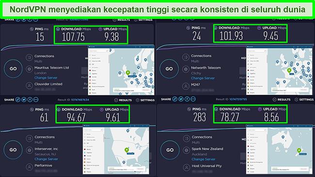 Tangkapan layar uji kecepatan dengan NordVPN yang terhubung ke server global yang berbeda