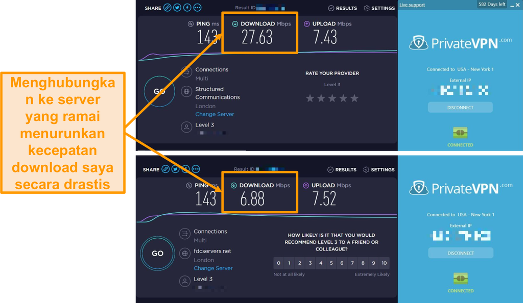 Tangkapan layar perbandingan kecepatan PrivateVPN yang menunjukkan penurunan kecepatan yang dramatis