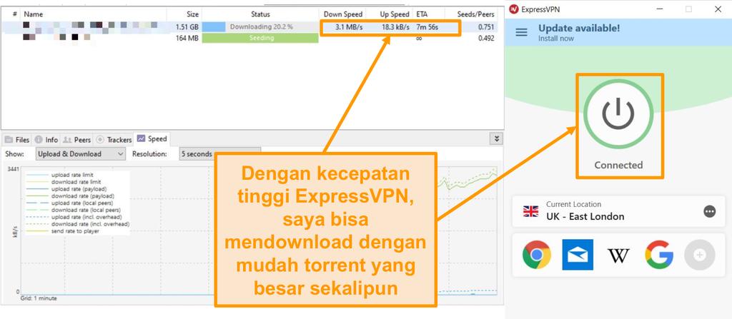 Tangkapan layar pengunduhan file torrent dengan pengaturan koneksi ExpressVPN