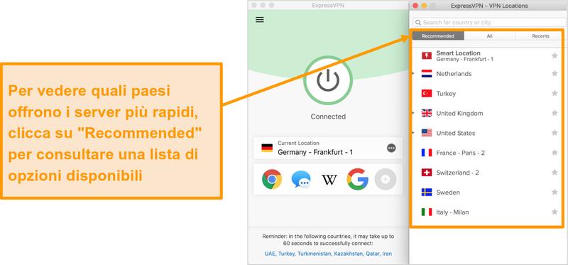 Screenshot dell'app ExpressVPN che mostra i server consigliati