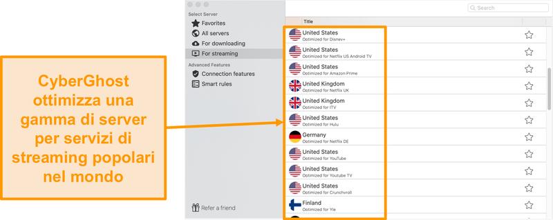 Screenshot dell'app CyberGhost per Mac che mostra i server ottimizzati per lo streaming