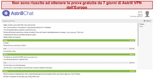 screenshot della conversazione con il team di supporto di Astrill VPN, dove il periodo di prova gratuito di 7 giorni non è garantito anche se l'utente si trova in Europa
