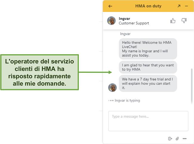 Schermata della chat live dell'assistenza clienti di HMA