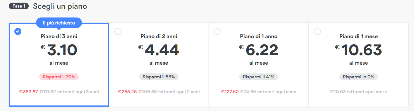 Screenshot of NordPVN payment plans for hidden deals