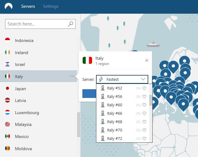 immagine dei server NordVPN in Italia