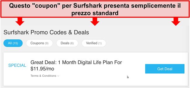 Screenshot di falsi codici promozionali e offerte di Surfshark