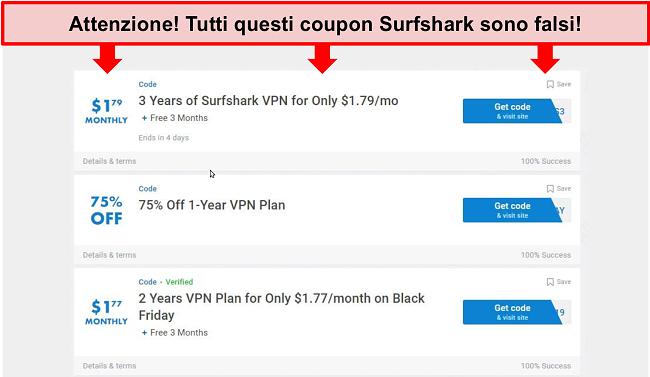 Screenshot di falsi coupon Surfshark