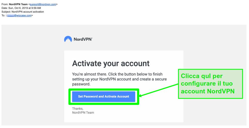 Schermata dell'email di attivazione dell'account NordVPN