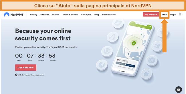 Screenshot dell'opzione di aiuto di NordVPN sulla sua homepage