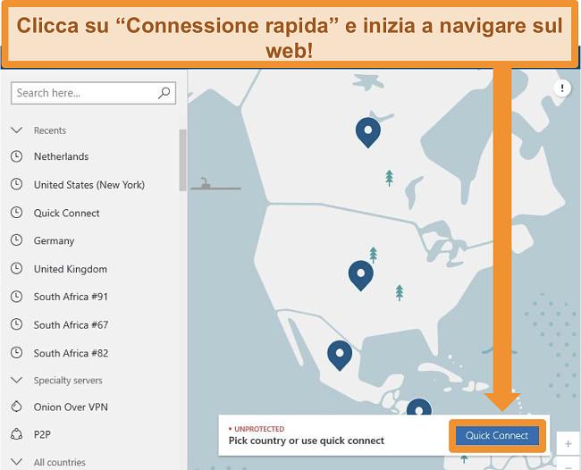 Screenshot della schermata principale di NordVPN