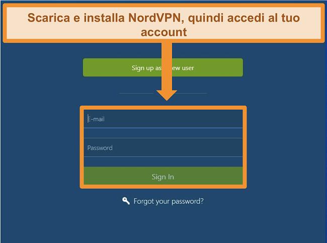 Screenshot della schermata di accesso sull'app NordVPN per Windows