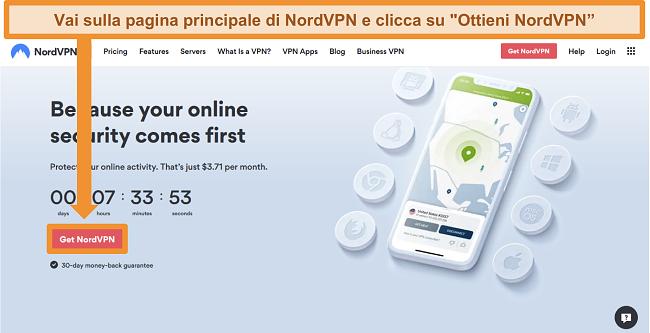 Screenshot della home page di NordVPN