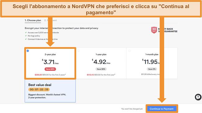 Screenshot della pagina di selezione del piano sul sito Web di NordVPN