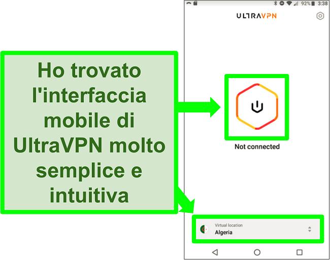 Screenshot dell'interfaccia utente di UltraVPN su Android