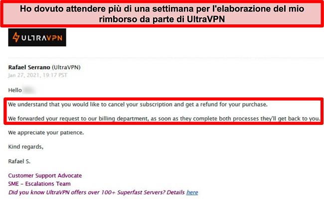 Screenshot di un'e-mail dal supporto UltraVPN che dice che la mia richiesta di rimborso è ancora in fase di elaborazione