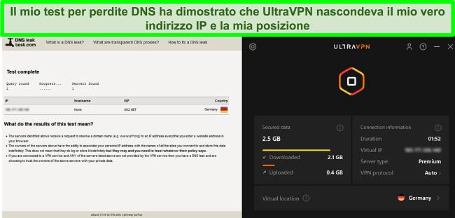 Screenshot di un test di tenuta DNS riuscito mentre UltraVPN è connesso a un server in Germania