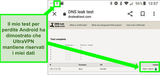 Screenshot di un test di tenuta DNS riuscito mentre UltraVPN su Android è connesso a un server in Algeria