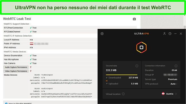 Screenshot di un risultato di test WebRTC riuscito mentre UltraVPN è connesso a un server in Austria
