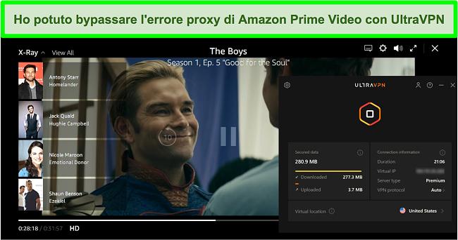 Screenshot di The Boys su Amazon Prime Video mentre UltraVPN è connesso a un server negli Stati Uniti