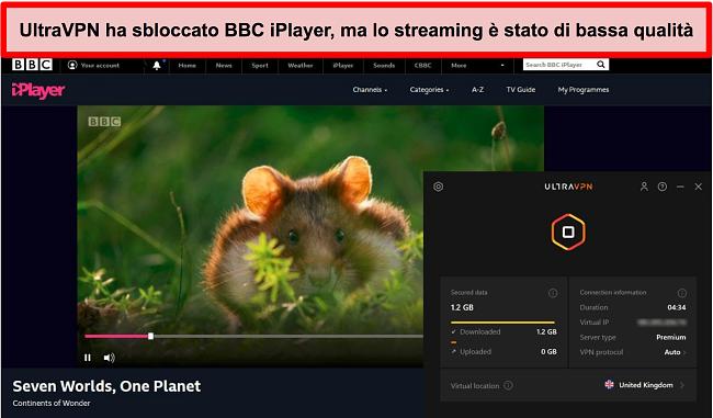 Screenshot di BBC iPlayer sbloccato dal server UltraVNC nel Regno Unito