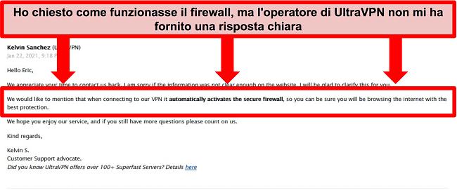 Screenshot di un'e-mail dal supporto tecnico di UltraVPN