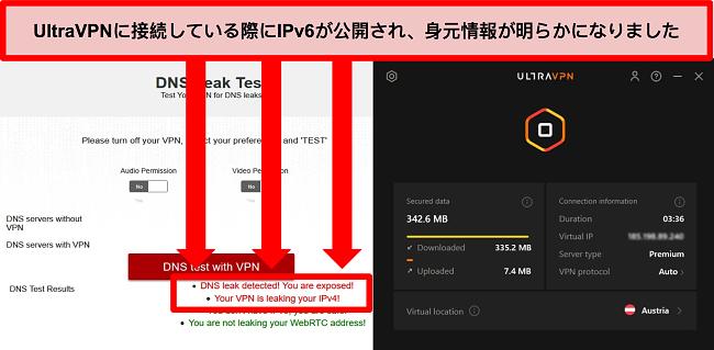 UltraVPNがオーストリアのサーバーに接続されているときに失敗したIPv6リークテストのスクリーンショット