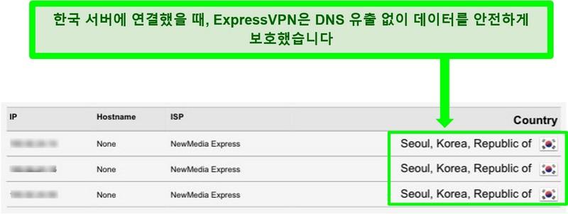 ExpressVPN에 연결된 동안 DNS 누출 테스트 스크린 샷