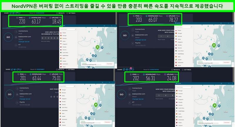 NordVPN이 대한민국의 4 개의 서버에 연결되어있는 동안의 속도 테스트 스크린 샷