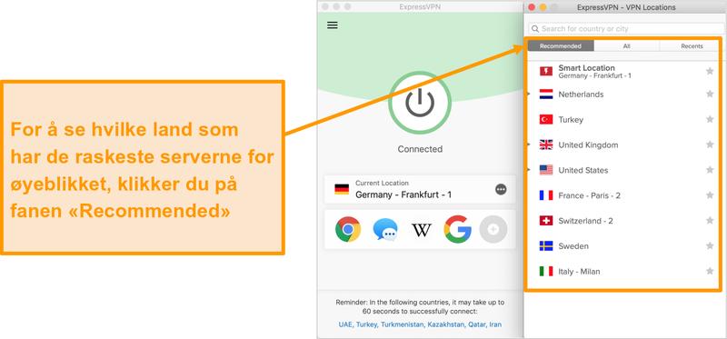 Skjermbilde av ExpressVPN-appen som viser anbefalte servere