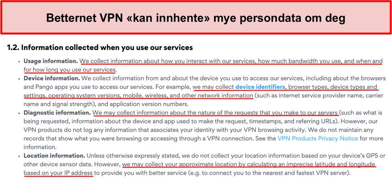 Skjermbilde av personvernregler for Betternet VPN