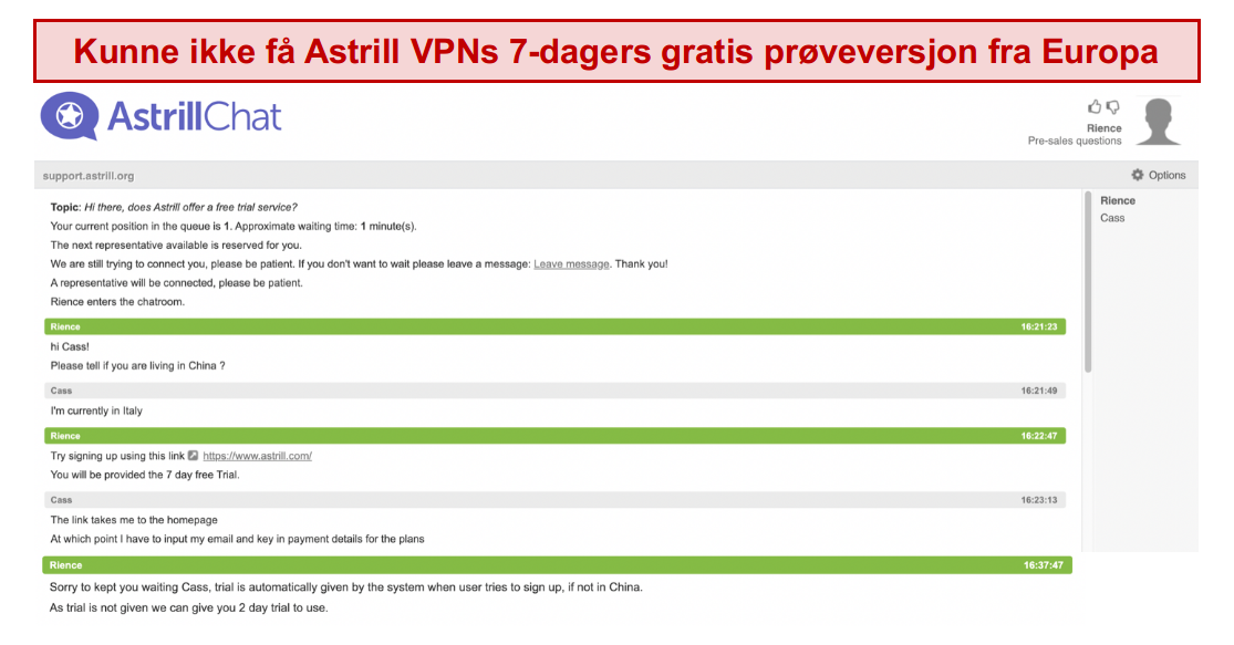 skjermbilde av samtalen med Astrill VPN supportteam, der 7-dagers gratis prøveperiode ikke er garantert selv om brukeren er i Europa
