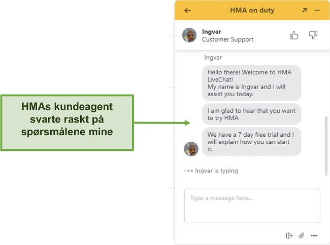 Skjermbilde av HMAs kundesupport live chat