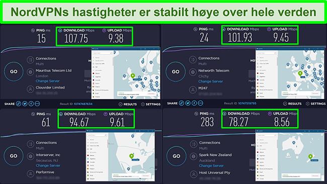 Skjermbilder av hastighetstester med NordVPN koblet til forskjellige globale servere