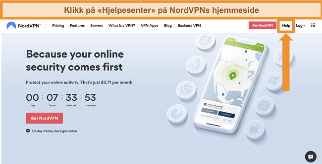 Skjermbilde av NordVPNs hjelpealternativ på hjemmesiden