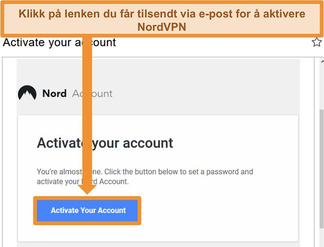 Skjermbilde av muligheten til aktiv NordVPN-konto via e-post