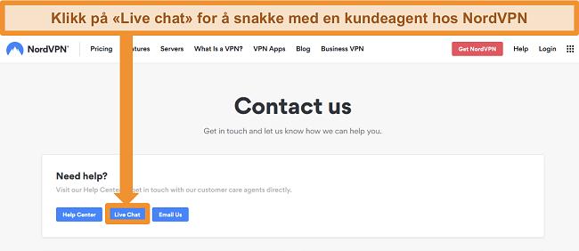 Skjermbilde av NordVPN Kontakt oss-siden som viser Live Chat-knappen