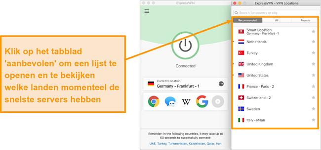 Screenshot van de ExpressVPN-app met aanbevolen servers