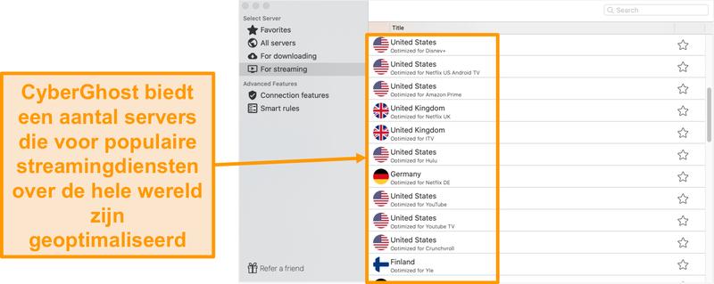 Screenshot van de CyberGhost-app voor Mac met de geoptimaliseerde servers voor streaming