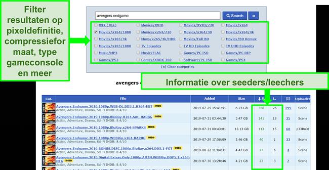 Screenshot van de RARBG-zoekpagina