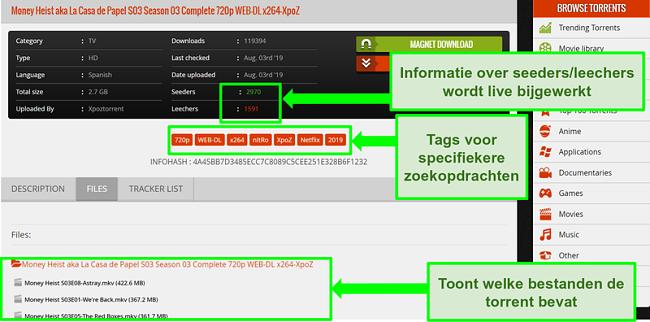 Screenshot van de 1337xTorrents-downloadpagina