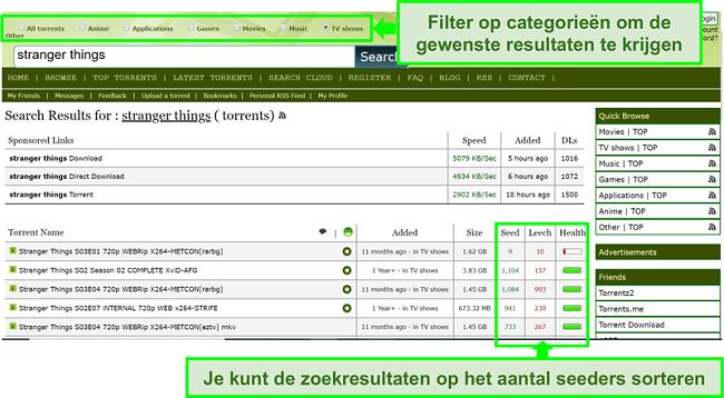Screenshot van de zoekpagina van Limetorrents