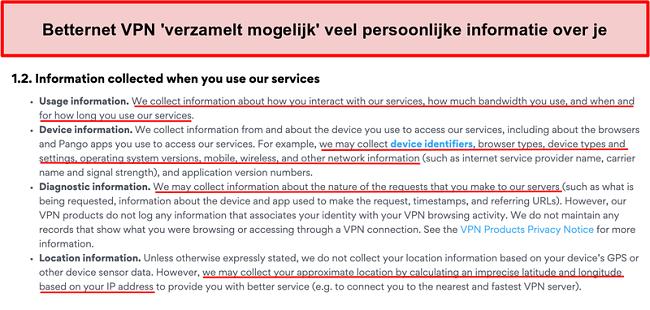 Screenshot van het privacybeleid van Betternet VPN