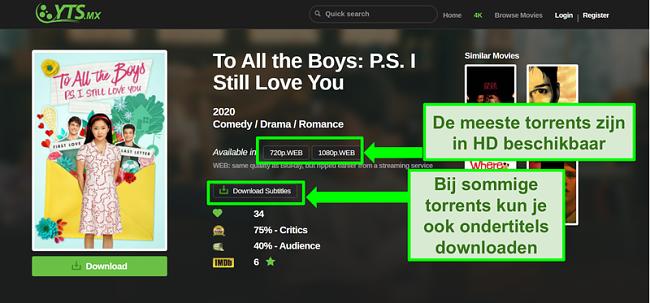 Screenshot van de YTS-bestemmingspagina